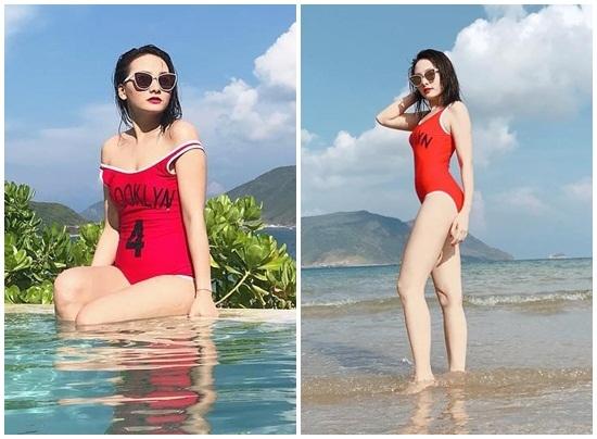 Diễn viên Bảo Thanh diện bikini đỏ rực khoe dáng sexy