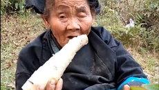 Rớt nước mắt cảnh cụ bà không còn răng cố ăn củ măng