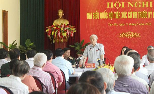 Tổng bí thư,Nguyễn Phú Trọng,xử lý cán bộ,tiếp xúc cử tri,chống tham nhũng