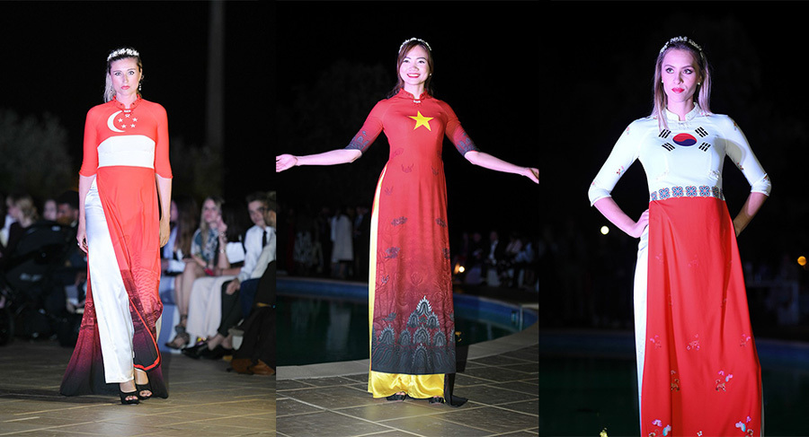 NTK Việt giới thiệu BST Áo dài in quốc kỳ 42 nước tại Cannes