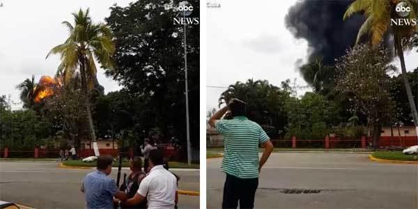 Khoảnh khắc máy bay Cuba nổ tung