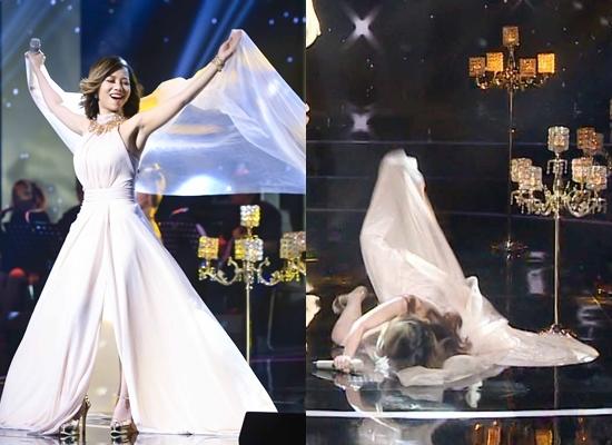Minh Tuyết hốt hoảng vì 'cô gái vừa hát vừa ăn' ngã đập mặt trên sân khấu