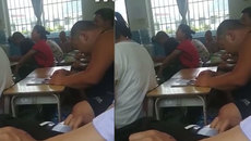 Phụ huynh đi họp ngủ gật trong lớp