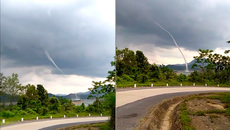 Vòi rồng cao hàng chục mét xuất hiện giữa lòng hồ thủy điện ở Quảng Trị