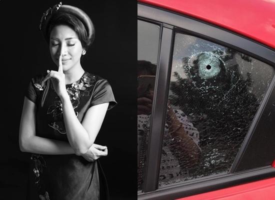 Ca sĩ Pha Lê bị kẻ xấu đục thủng kính xe hơi