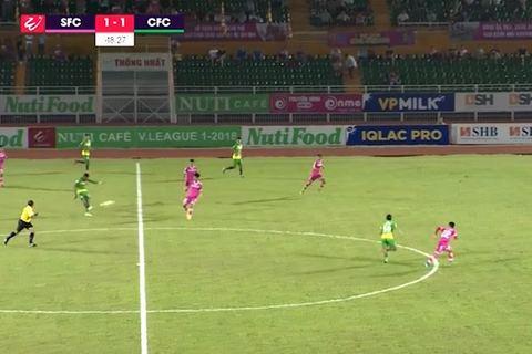 Tiền đạo Cần Thơ Wander Luiz lập siêu phẩm từ giữa sân như Beckham