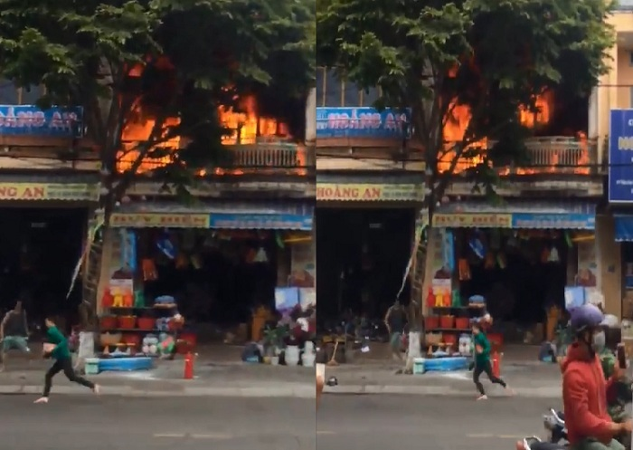 Cửa hàng cháy rừng rực, dân bỏ chạy tán loạn