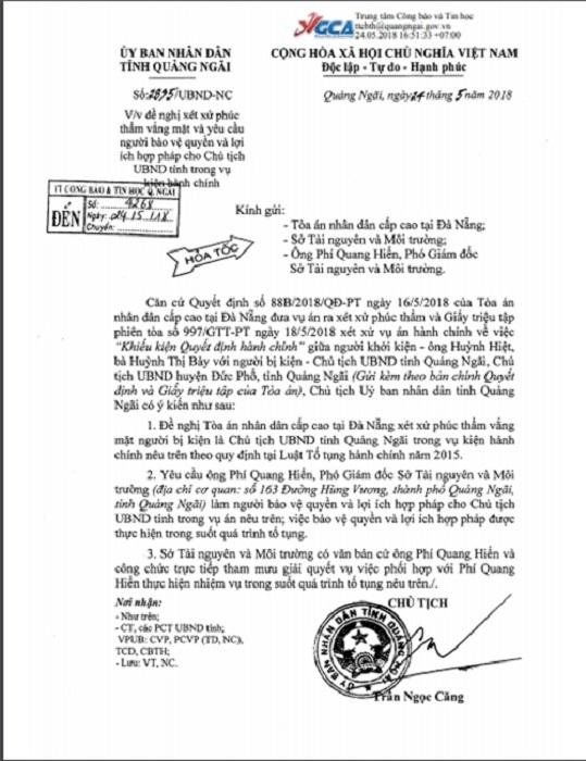 Chủ tịch Quảng Ngãi,khởi kiện