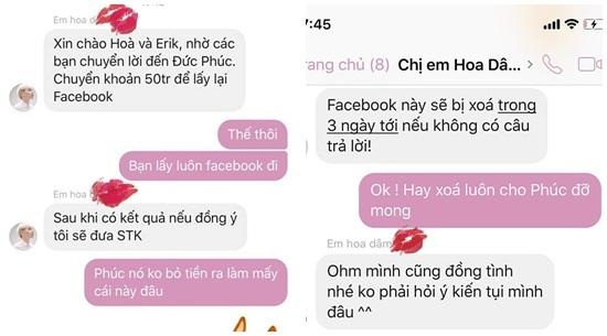 Hòa Minzy, Erik đáp trả cực lầy khi hacker đòi 50 triệu chuộc facebook Đức Phúc