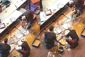 Nhân viên nhà hàng bị phát hiện rửa đĩa trong vũng nước bẩn