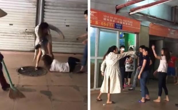 Chồng chở vợ mới đi đánh vợ cũ ở trung tâm thương mại