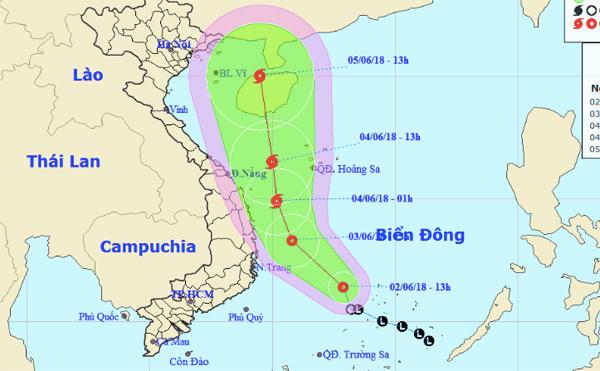 Áp thấp nhiệt đới có khả năng mạnh lên thành bão số 2