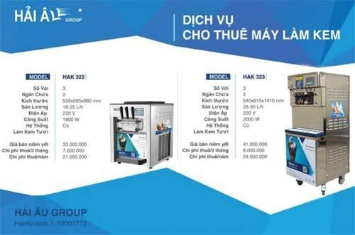 Hải Âu Group ra mắt dịch vụ cho thuê máy làm kem