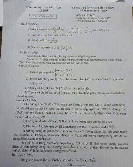 thi lớp 10,tuyển sinh lớp 10,Đề thi môn Toán,đề thi toán