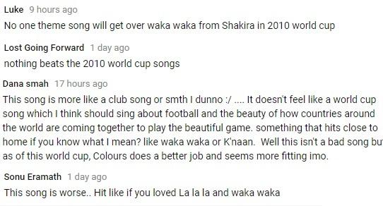 Ca khúc chính của World Cup 2018 nhận lượng dislike kỷ lục