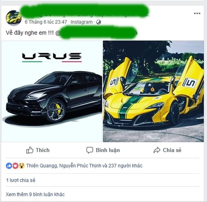 Đại gia Việt bí ẩn úp mở việc 'tậu' siêu xe Lamborghini Urus