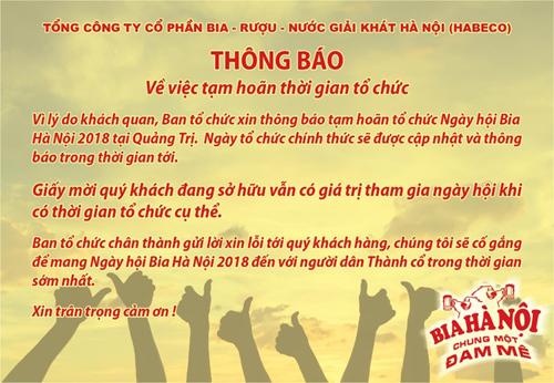 Tạm hoãn Ngày hội Bia Hà Nội 2018 ở Quảng Trị