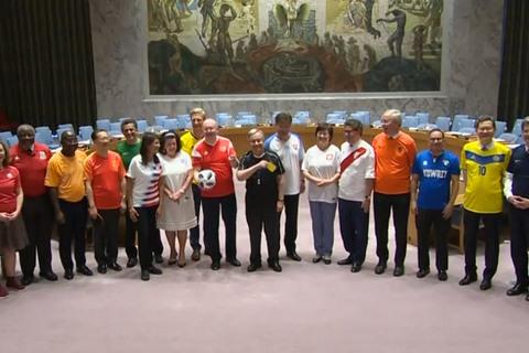 các đại sứ Liên hợp quốc cổ vũ World Cup 2018