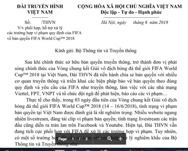 Bản quyền World Cup 2018,VTV