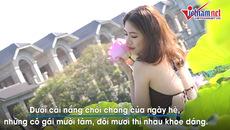 Thiếu nữ Hà Thành khoe lưng trần trong nắng sớm