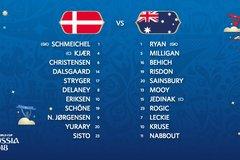 Đội hình ra sân trận Đan Mạch vs Úc, 19h ngày 21/6