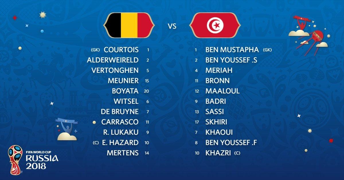 Đội hình ra sânBỉ vs Tunisia