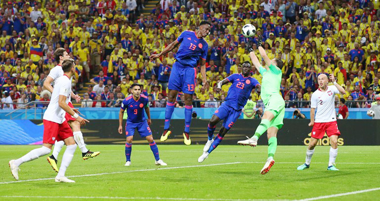 Mina đánh đầu mở tỷ số cho Colombia