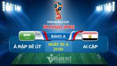 Link xem trực tiếp Ả Rập Xê Út vs Ai Cập, 21h ngày 25/6