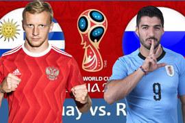 Trực tiếp Uruguay vs Nga: Giành suất đầu bảng