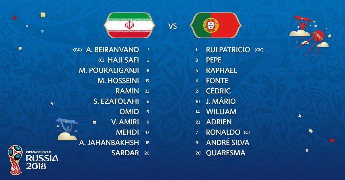 Đội hình ra sânIran vs Bồ Đào Nha