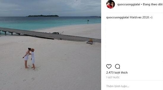 Cường Đô La đăng ảnh hôn Đàm Thu Trang ở thiên đường Maldives