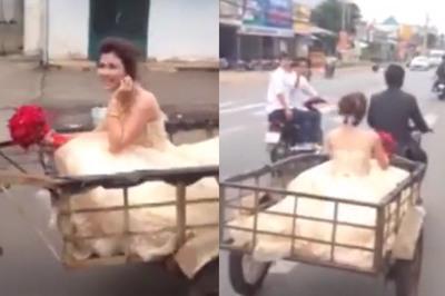 Chú rể rước dâu bằng xe chở hàng gây sốt mạng xã hội