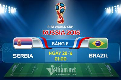 Link xem trực tiếp Serbia vs Brazil, 01h ngày 28/6