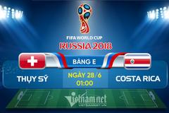 Link xem trực tiếp Thụy Sĩ vs Costa Rica, 01h ngày 28/6