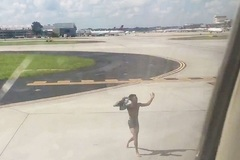 Nam thanh niên cởi trần, nhảy vào đường băng, trèo lên cánh máy bay