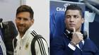 """Messi gặp Ronaldo """"nháy mắt"""" tinh quái khi chuẩn bị đấu Pháp"""