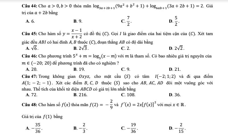 Ba câu hỏi từ đề thi môn toán THPT quốc gia 2018