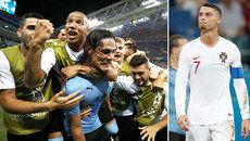 Cavani chói sáng, Uruguay tiễn Ronaldo về theo Messi