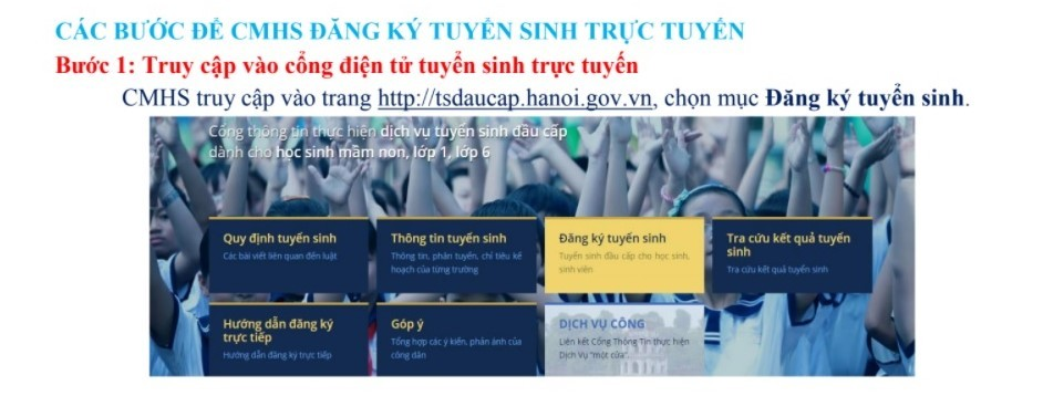 Cách đăng ký tuyển sinh trực tuyến vào lớp 1 ở Hà Nội