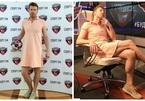Nam phát thanh viên mặc váy đi làm vì cược World Cup