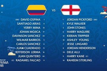 Đội hình ra sân Colombia vs Anh: James Rodriguez ngồi ngoài
