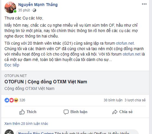 Tranh chấp Facebook Otofun: Tố nhau ầm ĩ trên mạng xã hội