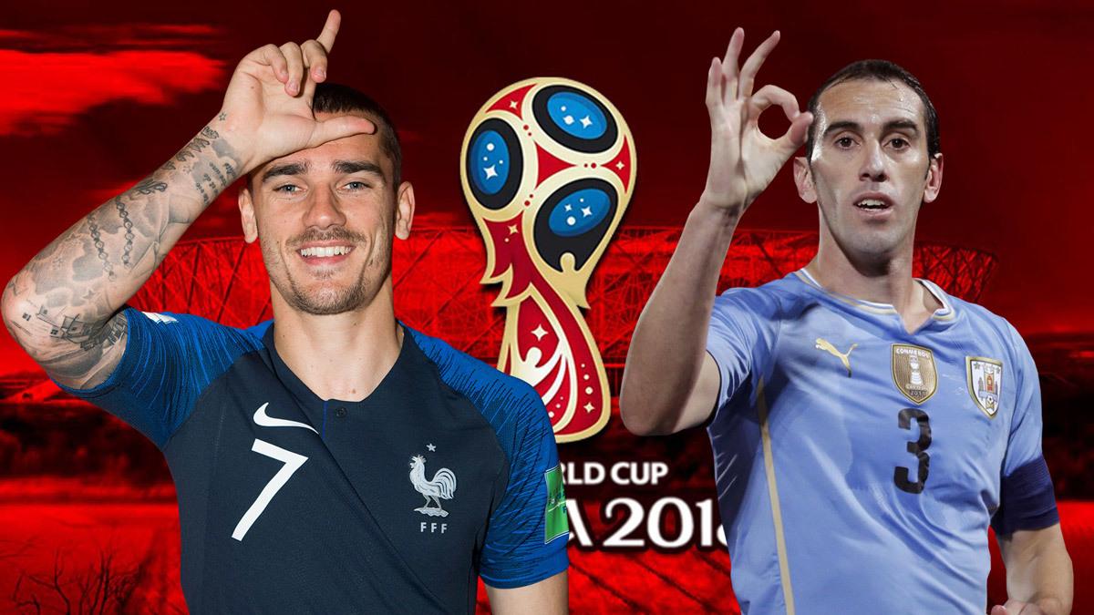 Pháp,Uruguay,Pháp vs Uruguay,tứ kết World Cup,Griezmann,Luis Suarez,Umtiti,Godin