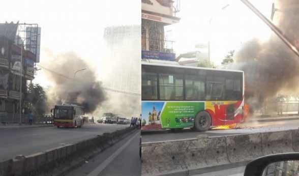 giao thông,xe buýt,cháy xe,Hà Nội