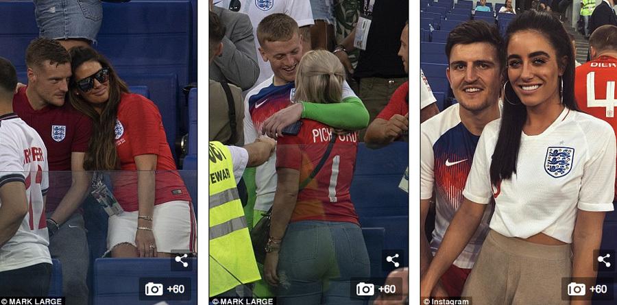 Các tuyển thủ Anh được vợ, người yêu ôm chặt vì chiến thắng tại World Cup