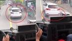 Xe cứu hỏa hú còi liên tục, ô tô Santa Fe quyết không nhường đường