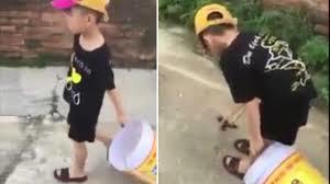 Cậu bé mếu máo xách xô đi hót phân xôn xao dân mạng