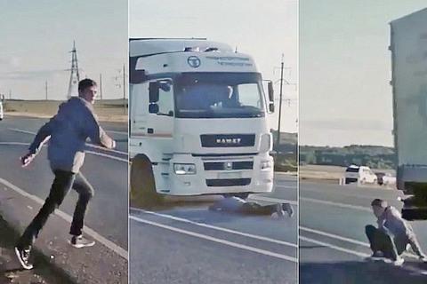 video quay người cố tình chui gầm xe tải vì thua độ World Cup
