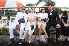 Vợ chồng Bình Minh, Linh Nga đội mưa xem show thời trang