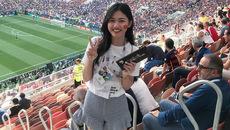 Á hậu Thanh Tú phấn khích xem trực tiếp chung kết World Cup 2018 ở Nga